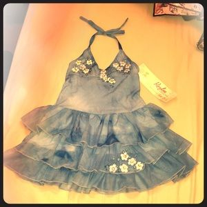 Hand painted halter party dress